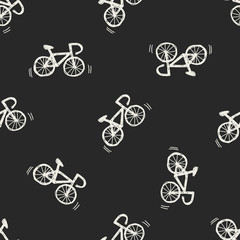 Doodle Bicycle seamless pattern background