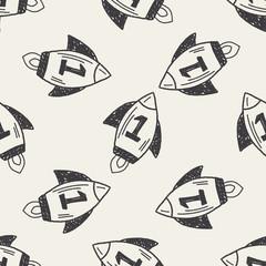 Doodle Rocket seamless pattern background
