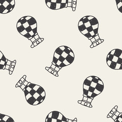 Doodle Hot Air Balloon seamless pattern background