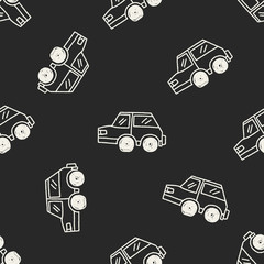 Doodle Car seamless pattern background