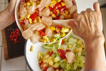 Mixing salad