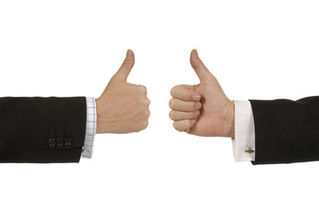 Two businessmen giving thumbs up signs.