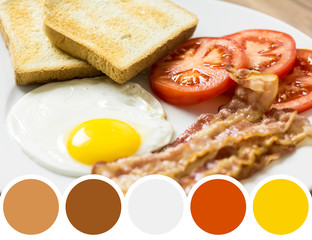 Color Palette Of Tasty English Morning Breakfast