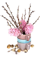 Bright pink hyacinths flowers, willow branches in vase, quail eg
