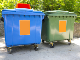 New colorful plastic garbage containers