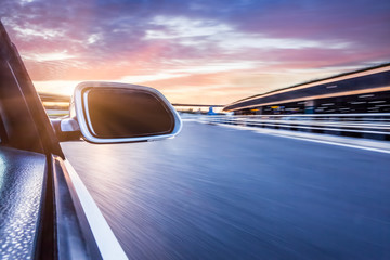 ar on the road whit motion blur background
