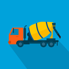 Cement mixer truck vector.