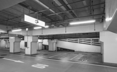 Empty space of underground car parking at night time