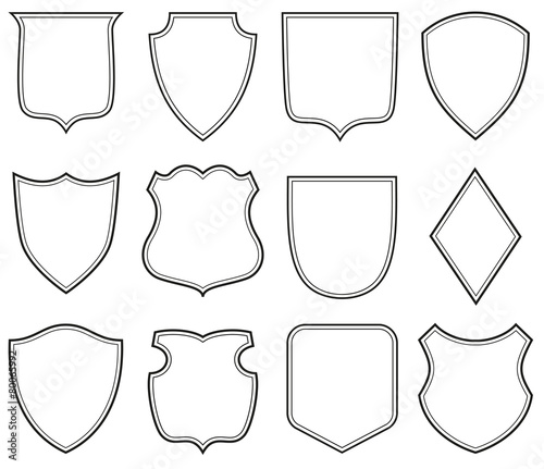 """Collection of heraldic shield shapes"" Stock image and ..."