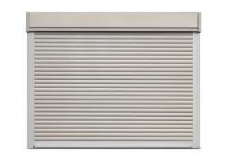 White door roller shutter isolated on white background .