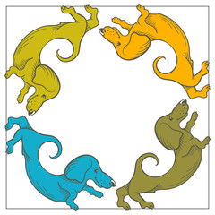 Colorful cartoon frame with dogs