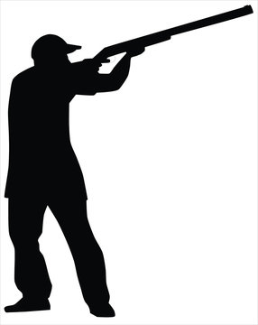 hunter men shooting silhouette vector.