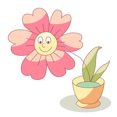 Vector cartoon flower in water