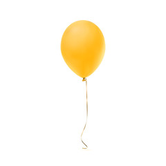 Yellow balloon icon isolated on white background.