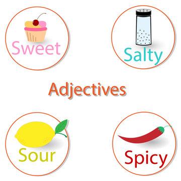 English adjectives. Basic tastes.