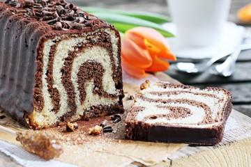 Chocolate and vanilla cake. Selective focus.