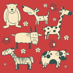 Set of wild and domestic animal characters.