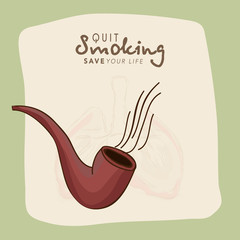No Smoking Day concept with tobacco pipe.