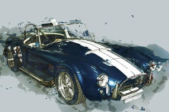 Vintage sport car drawn illustration