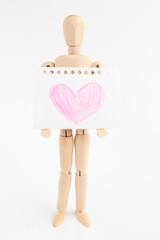 デッサン人形とスケッチブック ハート