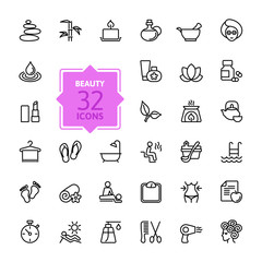 Outline web icon set  - Spa & Beauty