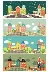 Urban landscape of four seasons