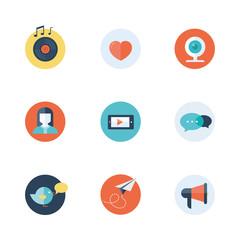 Social network icons flat vector
