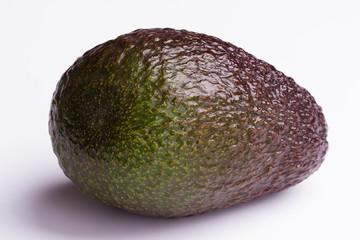 single avocado on white background - closeup