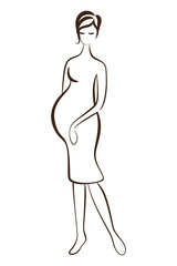Pregnant woman silhouette without filling