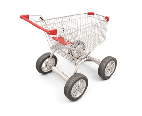 Trolley with wheels