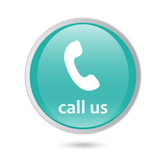 call us icon phone sign. blue glossy button