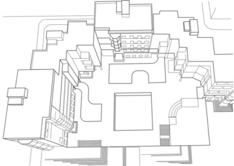 architectural sketch of multistoried building top view