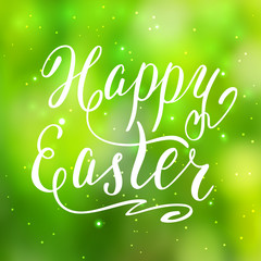 Happy Easter card, hand lettering, vector illustration