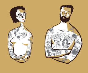Girl and young men, with vintage tattoos, hipsters