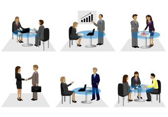 Business People, Different Situation Set - Isolated On White Background - Vector Illustration, Graphic Design Editable For Your Design