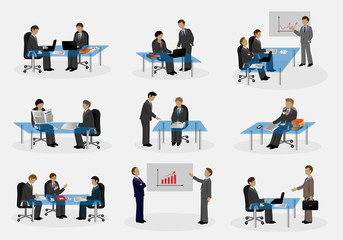 Business People In Office, Different Situation Set - Isolated On White Background - Vector Illustration, Graphic Design Editable For Your Design