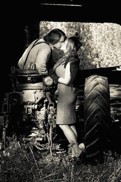 retro couple kissing