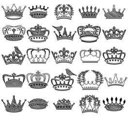 Vector Collection of Doodle Vintage Style Crown Silhouettes