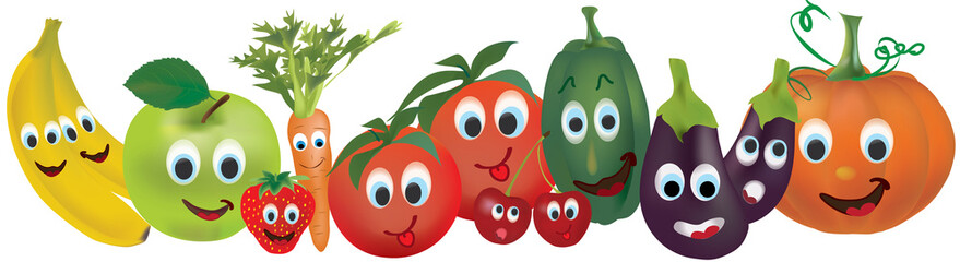 Fruits and vegetables with animated faces. Banana, apple, pepper