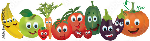 Fruits And Vegetables With Animated Faces Banana Apple