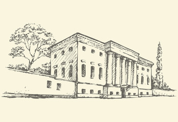 Vector sketch. Massive building with a colonnade