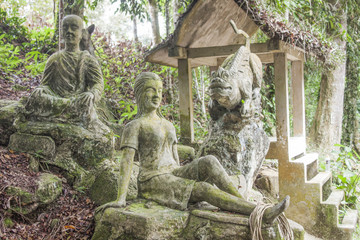 Stone statues at the magic garden