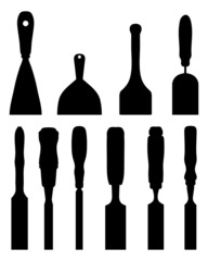 Black silhouettes of different chisels, vector illustration