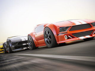 The race , Exotic sports cars racing with motion blur