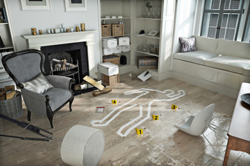 Home invasion , crime scene in a wrecked furnished home. Wall mural
