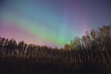 Beautiful panoramic picture of northern lights aurora borealis