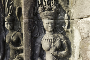 Beautiful Apsara Dancers Stone Carving, Angkor Wat, Cambodia