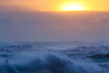 Il mare in Islanda: onde al tramonto