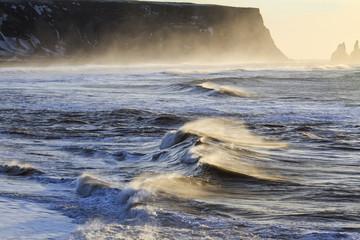 Il mare in Islanda: spiaggia nera di Vik all'alba