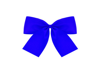 Festive blue bow made of ribbon isolated on white